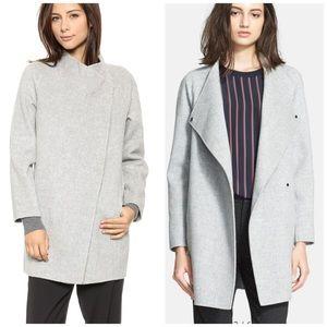 Vince -Long Sleeve Wool Blend Sweater Car Coat